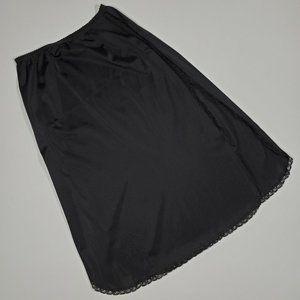 Vintage 70's Shadowline Black Half Slip Skirt S